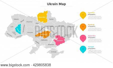 Ukraine Map Divided Into Federal States. Territory Of Country With Regional Borders. Ukrainian Admin