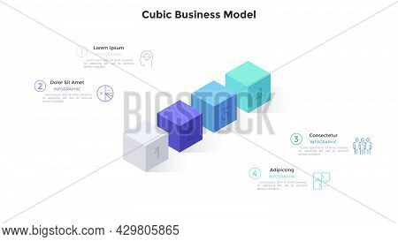 Four Numbered Cubes Placed In Row. Concept Of 4 Steps Of Business Project Development Progress. Mini