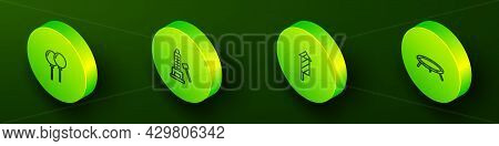 Set Isometric Line Balloons With Ribbon, Striker Attraction Hammer, Firework Rocket And Jumping Tram