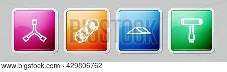 Set Line Skateboard Y-tool, Broken Skateboard, Park And T. Colorful Square Button. Vector