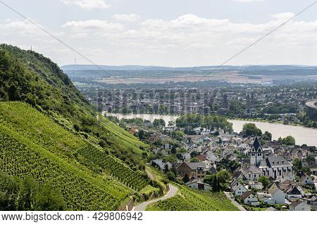 The Rhine River Flowing Between The Grape Hills, The Village Buildings Are Visible, Aerial View.