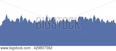 Small Town Streets Silhouette. Roofs Of Houses. Country Landscape. Flat Cartoon Style. Seamless Illu