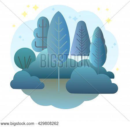 Night Forest. Flat Cartoon Style Symbolic Illustration. Landscape In Dark Colors. Rural Wildlife Wit