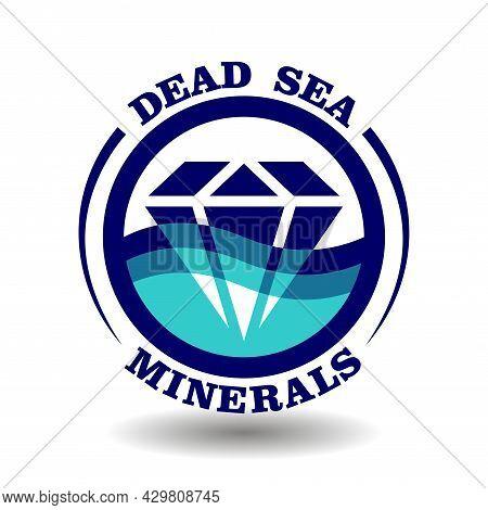 Creative Round Logo Dead Sea Minerals With Crystal Diamond Cartoon Icon In Blue Ocean Wave Circle Sy