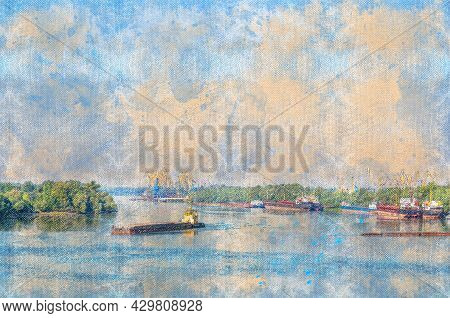 Seaport On The Danube River With Ships, Gantry Cranes, Barges, Tugboats. Cargo Operations On Loading