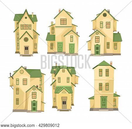 Cartoon Yellow House. Set. A Beautiful, Cozy Country House In A Traditional European Style. Collecti