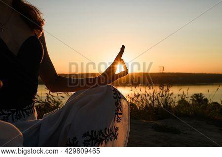 Female Hand In Mudra With Sun Light