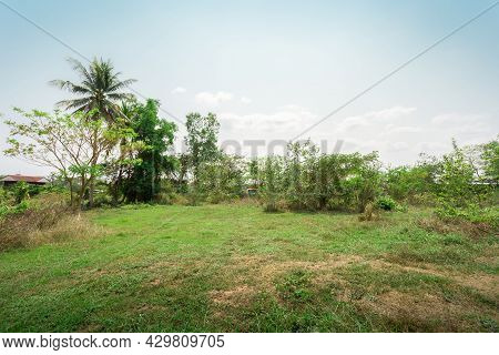 Empty Grassland Land With Beautiful Views, Land Plot For Housing Construction Green Meadow And Mount
