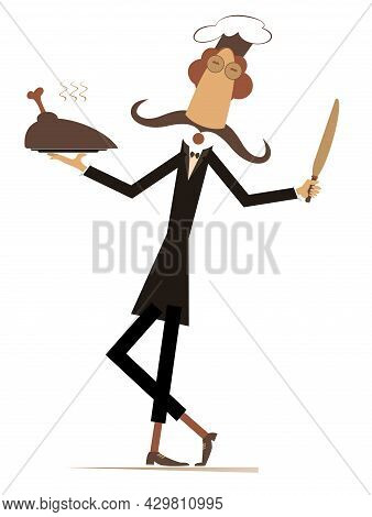 Comic Cook Carries A Tray With Meat Illustration.  Long Mustache Comic Cook With A Big Knife Carries