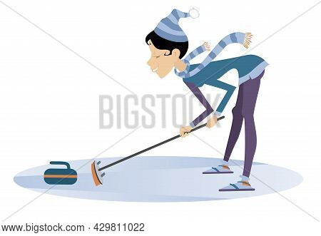 Smiling Young Woman Plays Curling Illustration.  Woman Curling Player With Curling Brush And A Curli