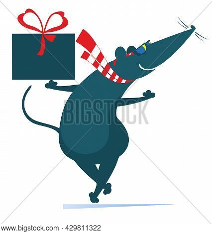 Cartoon Rat Or Mouse Holds A Present Box With Ribbon Illustration.  Funny Rat Or Mouse With A Gift C