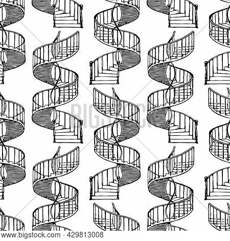 Seamless Pattern Of Drawn Abstract Spiral Staircase