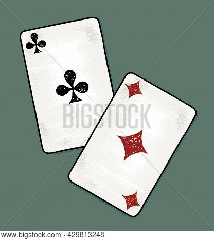 Freehand Drawing Of Two Aces Cards On Green Background