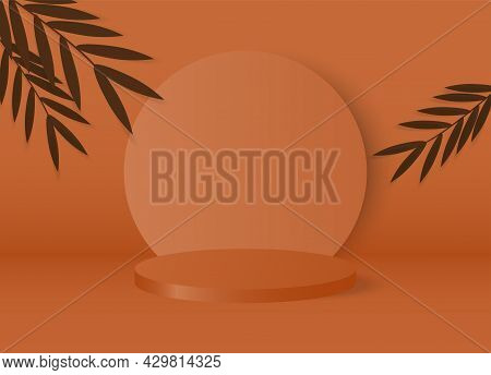 Cylinder Podium Made On Brown Pastel Background With Leaves.mock Up For The Exhibitions,presentation