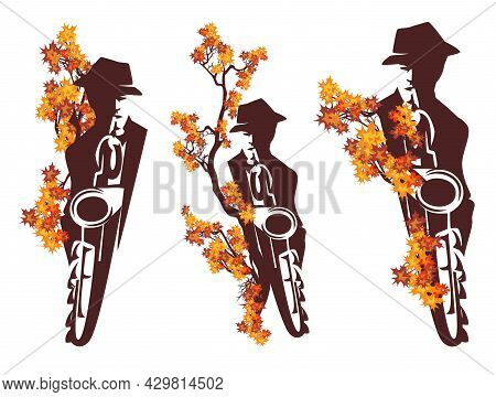 Man Playing Saxophone Among Fall Season Tree Branches With Bright Leaves - Jazz Musician Wearing Hat