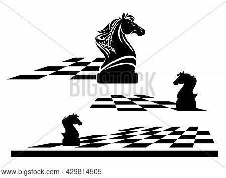 Knight Chess Piece On A Game Board -  Black And White Vector Outline Of Horse Head And Checkerboard