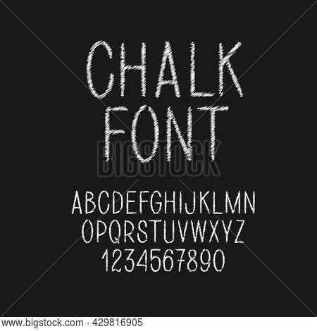 Thin Chalk Vector Letters. Latin White Alphabet On Chalkboard.