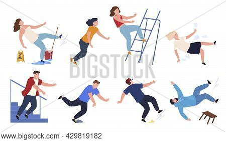 Collection Falling People Vector Cartoon Illustration. Danger Caution Wet Floor, Falling Down Stairs