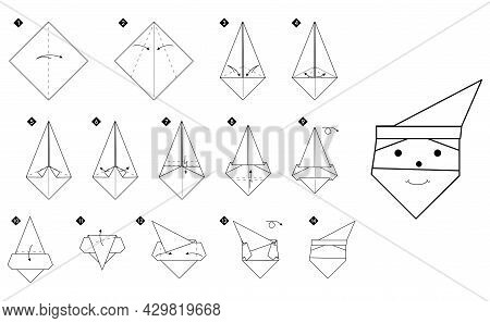How To Make Origami Santa Claus Head. Step By Step Black And White Diy Instructions. Outline Monochr