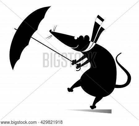 Windy Day And Rat Or Mouse With Umbrella Illustration. Cartoon Rat Or Mouse With An Umbrella Stays O