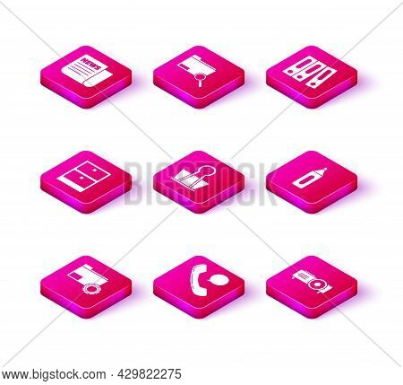 Set Folder Settings With Gears, Archive Papers Drawer, Binder Clip, Presentation, Movie, Film, Media