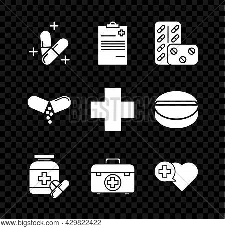 Set Medicine Pill Or Tablet, Medical Clipboard With Clinical Record, Pills Blister Pack, Bottle And