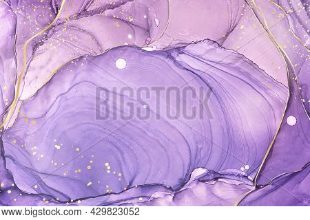 Abstract Luxury Lavender Liquid Watercolor Background With Golden Stains. Pastel Violet Marble Alcoh