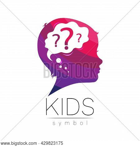 Children Vector Logo For Symbol Of Care Teacher Kids And Caring. Silhouette Profile Human Head. Conc