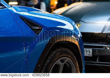 Moscow, Russia - 13, December 2020: Front Right Fender And Wheel Of Blue Premium Crossover Lamborghi