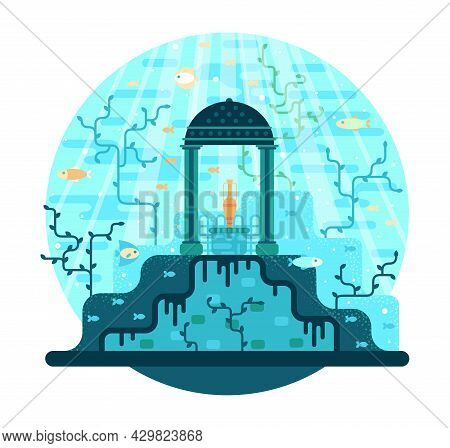 The Jug Stands On A Pedestal On The Seabed Under The Arch, A Monument To An Ancient Civilization - V