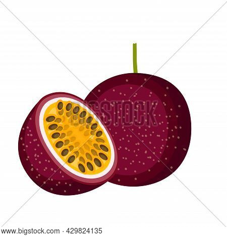 Passion Fruit, Whole Fruit And Half, Vector Illustration