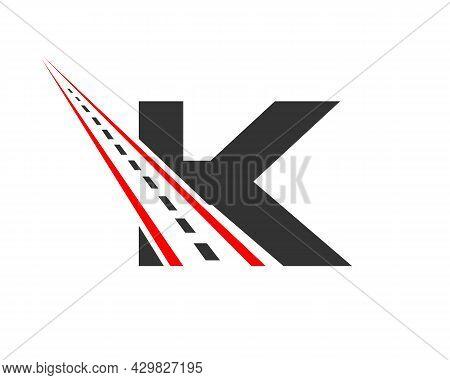 Transport Logo With K Letter Concept. K Letter Road Logo Design