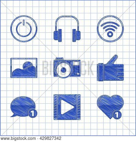 Set Photo Camera, Play Video, Like And Heart, Hand Like, Speech Bubble Chat, Picture Landscape, Wi-f