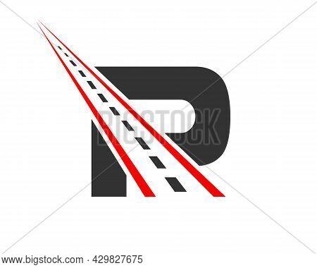 Transport Logo With P Letter Concept. P Letter Road Logo Design