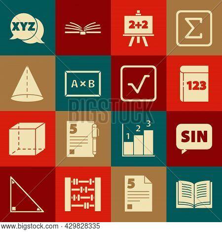 Set Open Book, Mathematics Function Sine, Book With Word Mathematics, Chalkboard, Geometric Figure C