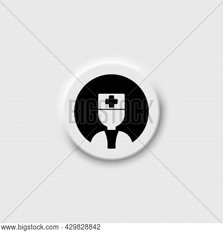 Doctor Or Healthcare Professional On Neomorphism Button Black Line Icon. Man In Medical Uniform. Iso