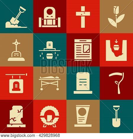 Set Shovel, Scythe, Coffin In Grave, Christian Cross, Grave With Coffin, Ground And Obituaries Icon.