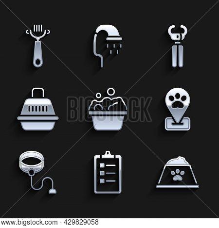 Set Pets Bath, Grooming Salon Price List, Food Bowl, Location Pet Grooming, Retractable Cord Leash,