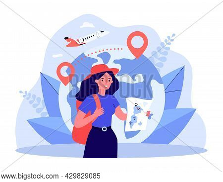 Happy Tourist Holding Map In Front Of Globe With Location Pins. Woman With Backpack, Plane In Backgr