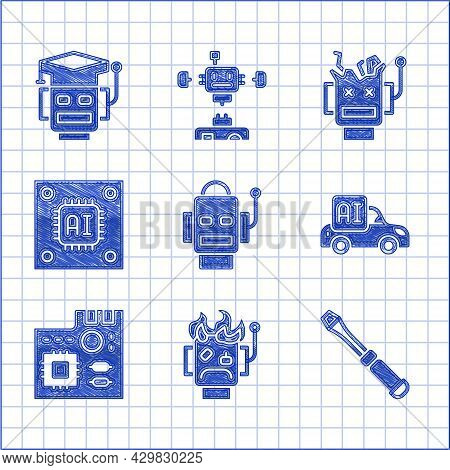 Set Robot, Burned Out, Screwdriver, Autonomous Smart Car, Motherboard Digital Chip, Processor With M