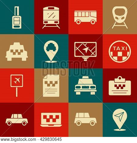 Set Location, Taxi Driver License, Car Roof, Bus, With Taxi, Car Key Remote And Gps Device Map Icon.