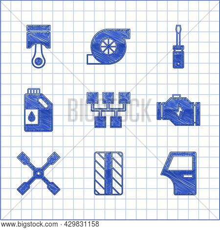 Set Gear Shifter, Car Tire Wheel, Door, Check Engine, Wheel Wrench, Canister For Motor Oil, Screwdri