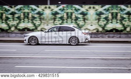 White Premium Class Bmw 3 Series Seventh Generation G20 At The City Street. Moscow, Russia - April 2
