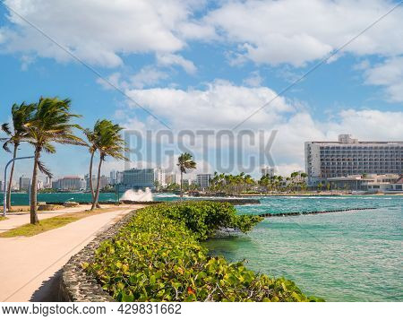 Great View Of The Sea On A Beautiful Windy Day At Condado Beach, San Juan, Puerto Rico.
