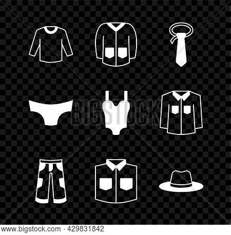 Set Sweater, Tie, Pants, Shirt, Man Hat, Men Underpants And Swimsuit Icon. Vector