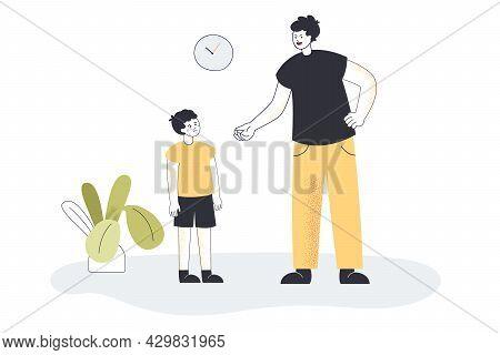 Father Screaming At His Crying Son Flat Vector Illustration. Angry Dad Punishing And Warning Sad Kid