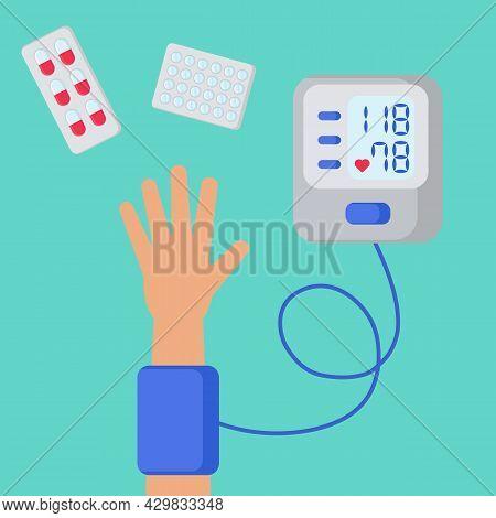 Measurement Of Blood Pressure Using Tonometer. Sphygmomanometer. Person Measures Blood Pressure. Pil