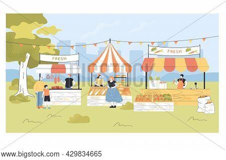 People Buying Organic Food At Local Street Market. Cartoon Vendors Characters Selling Fresh Vegetabl