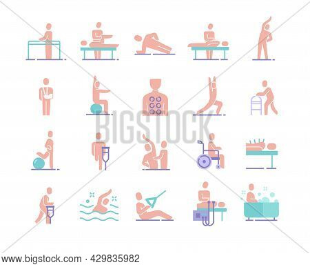 Colorful Collection Of Essential Physiotherapy Icons On White Background. Concept Of Massotherapy An