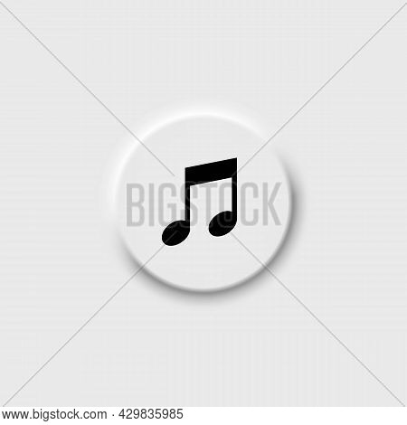 Musical Notation Outline Icon In Black. Neomorphism Button. Illustration Of Music Note Symbol. Class